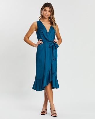 Atmos & Here Hannah Ruffle Front V-Neck Dress