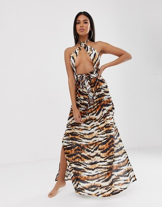 Asos DESIGN cross neck split front maxi dress in tiger animal print