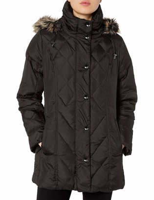 London Fog Women's Down Coat with Diamond Quilt