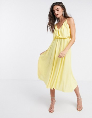 ASOS DESIGN cami plunge midi dress with blouson top in lemon