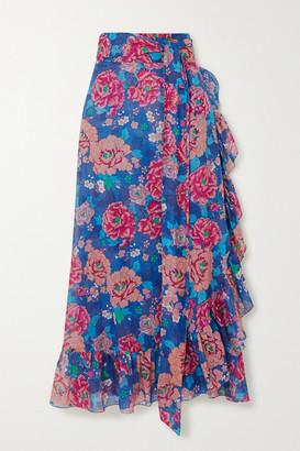 Loretta Caponi Lou Ruffled Floral-print Cotton-voile Midi Wrap Skirt - Blue