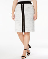 Calvin Klein Plus Size Zipper-Front Tweed Skirt