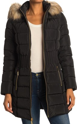 Laundry by Shelli Segal Faux Fur Hood Quilted Puffer Jacket