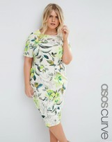 Asos Wiggle Dress In Water Color Floral Print