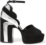 Pierre Hardy Roxy Metallic Watersnake-paneled Suede Platform Sandals - Silver