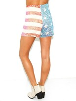 Wildfox Couture White Label American Glitter Sequin Shorts in Nude