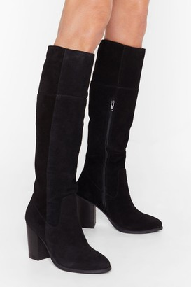 Nasty Gal Womens We Finally Suede It Knee-High Heeled Boots - black - 3