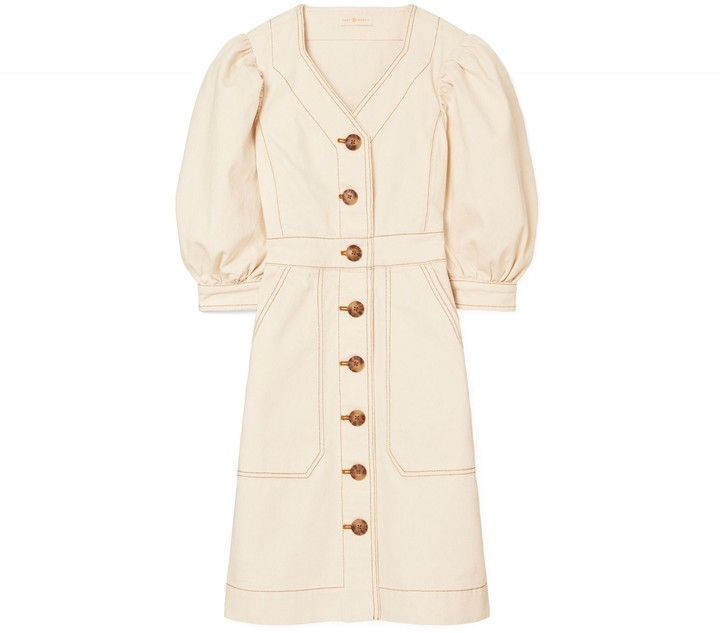 Tory Burch Cotton Puffed-Sleeve Dress