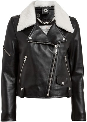 Golden Goose Hanna Shearling-Trimmed Moto Jacket
