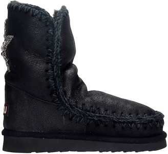 Mou Eskimo 24 Low Heels Ankle Boots In Black Suede