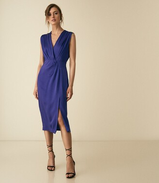 Reiss Elaini - Wrap Front Dress in Blue