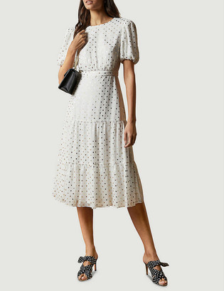 Ted Baker Mariani metallic fleck-print tiered woven midi dress