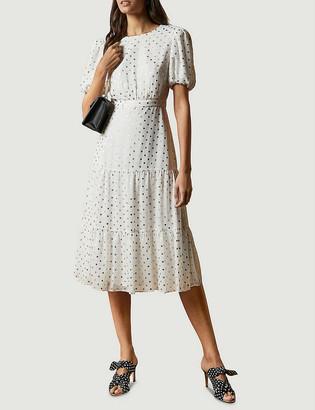 Ted Baker Mariani metallic fleck-print tiered woven midi dress