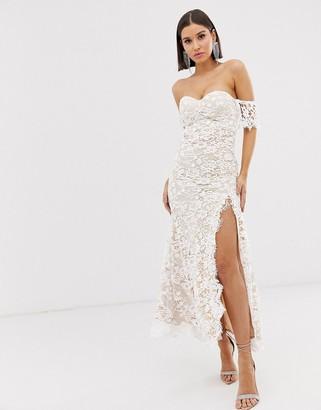 Love Triangle lace bandeau maxi dress in white