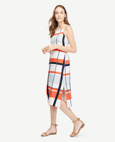 Ann Taylor Picnic Striped Linen Blend Midi Dress