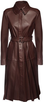 Sportmax Pleated Leather Coat Dress W/ Belt