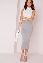 Missguided Longline Jersey Midi Skirt Grey