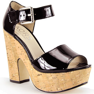 KORS Korey - Black Patent Leather Platofrm Cork Sandal