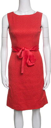 Carolina Herrera Red Embossed Jacquard Belted Sleeveless Dress XS