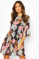 boohoo Chiffon Large Floral Print Smock Dress