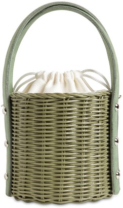 Wicker Wings Quan Rattan & Suede Bucket Bag