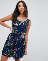 Yumi Belted Skater Dress In Butterfly Print