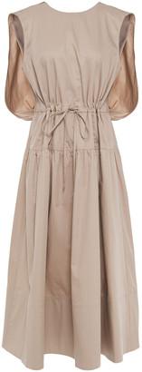 Tibi Gathered Cotton-poplin Midi Dress