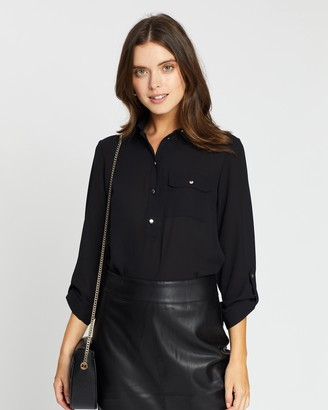 Dp Petite Roll Sleeve Shirt
