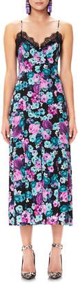 AFRM Sanders Lace Trim Floral Midi Dress