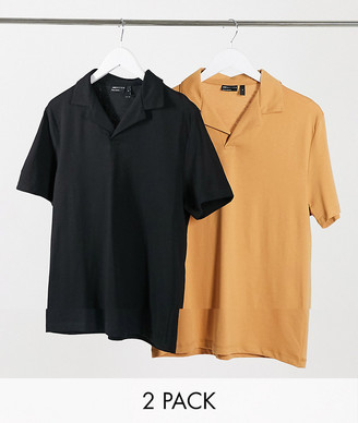 ASOS DESIGN 2 pack organic jersey polo with revere collar