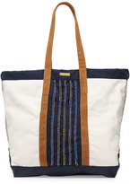 OndadeMar Aralia Hand-Embroidered Canvas Beach Tote Bag, Multicolor