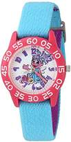 EWatchFactory Girl's 'Sesame Street' Quartz Plastic and Nylon Automatic Watch, Color:Blue (Model: W003192)