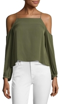 Nicole Miller Nicola Silk Cold Shoulder Blouse