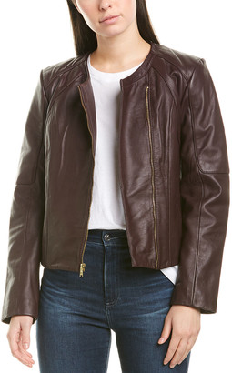 Cole Haan Asymmetric Leather Jacket