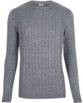 River Island Mens Light blue ribbed muscle fit crew neck sweater