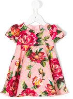 Dolce & Gabbana rose print brocade dress - kids - Silk/Cotton/Viscose - 6 mth