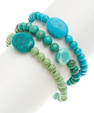 Pavcus Designs Women's Bracelets TURQ - Green Magnesite Beaded Stretch Bracelet Set