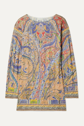 Etro Metallic Paisley-print Cable-knit Sweater - Peach
