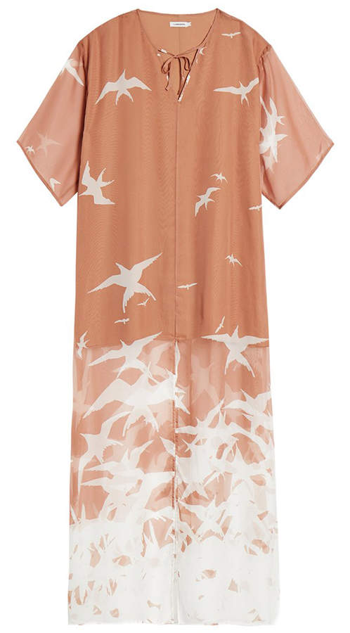 J. Lindeberg Layla Nude Bird Print Kaftan Dress