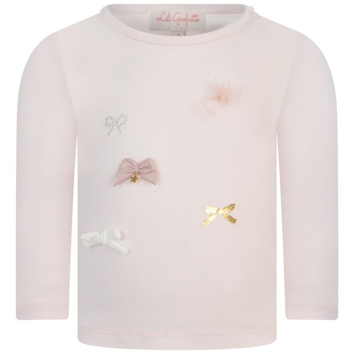 Baby Girls Pink Bow Top