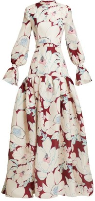 Carolina Herrera Oleander Floral-print Silk-gazar Gown - Womens - Burgundy Multi