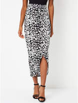 George Black Leopard Print Midi Wrap Skirt