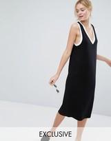 Monki Contrast Trim V Neck Midi Dress
