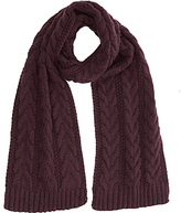 Warehouse Cable Knit Scarf, Berry