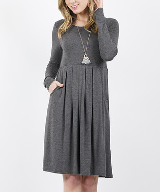 42pops 42POPS Women's Casual Dresses CHARCOAL - Charcoal Long-Sleeve Pleated Empire Waist Pocket Dress - Women