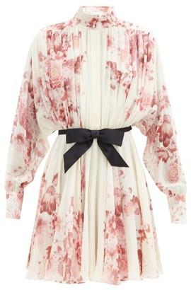 Giambattista Valli High-neck Floral-print Silk-georgette Dress - Beige Multi
