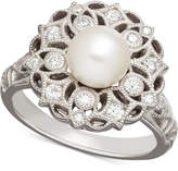 Honora Style Cultured Freshwater Pearl (7mm) & Swarovski Zirconia Ring in Sterling Silver