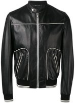 Dolce & Gabbana contrast trim leather jacket - men - Cotton/Lamb Skin/Polyamide/Viscose - 48
