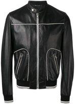 Dolce & Gabbana contrast trim leather jacket - men - Cotton/Lamb Skin/Polyamide/Viscose - 50