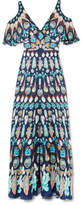 Temperley London Quartz Cold-shoulder Printed Silk Crepe De Chine Gown - Blue